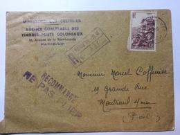 FRANCE - 1947 Registered Paris Cover To Montreuil With `Recommande Ne Pas Plier` Cachet Ministere Des Colonies - France