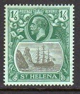 St. Helena GV 1922-37 1/6d Grey & Green On Blue-green 'Ship & Rock' Definitive, Wmk. Crown CA, Hinged Mint, SG 93 Foxing - Saint Helena Island
