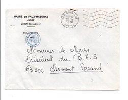 LETTRE DE MAIRIE DE FAUX-MAZURAS CREUSE - Marcophilie (Lettres)