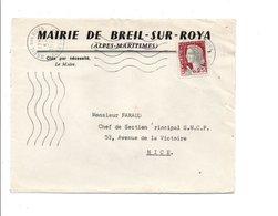 LETTRE DE MAIRIE DE BREIL-SUR-ROYA ALPES MARITIMES - Storia Postale