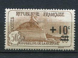9757 FRANCE N°167 **  +10c.s. 50+50c (153) Au Profit Des Orphelins De La Guerre Surchargé  1922  B/ TB - Nuevos