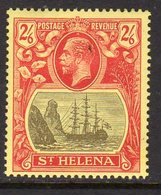 St. Helena GV 1922-37 2/6d Grey & Red On Yellow 'Ship & Rock' Definitive, Wmk. Script CA, Hinged Mint, SG 109 - Saint Helena Island