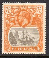 St. Helena GV 1922-37 7/6d Grey-brown & Yellow-orange 'Ship & Rock' Definitive, Wmk. Script CA, Hinged Mint, SG 111 - Isola Di Sant'Elena