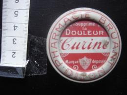 Boite Ancienne Tole Métal Fer Blanc Pharmacie BRUANT Dijon CURINE Cachet MEDICAMENT - Boxes