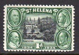 St. Helena GV 1934 Centenary Of Colonisation 1d Value, Wmk. Script CA, Hinged Mint, SG 115 - Saint Helena Island