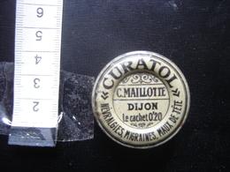 Boite Ancienne Tole Métal Fer Blanc Pharmacie MAILLOTTE Dijon CURATOL Cachet MEDICAMENT - Boîtes