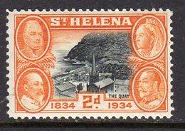 St. Helena GV 1934 Centenary Of Colonisation 2d Value, Wmk. Script CA, Hinged Mint, SG 117 - Saint Helena Island