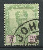 Johore 1896 Mi. 31 Usato 100% 25 C, Sultan Ibrahim Con I Baffi - Johore
