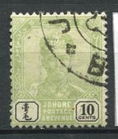 Johore 1896 Mi. 30 Usato 100% 10 C, Sultan Ibrahim Con I Baffi - Johore