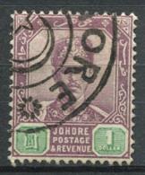 Johore 1896 Mi. 33 Usato 100% 1 $, Sultan Ibrahim Con I Baffi - Johore