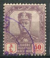 Johore 1904 Mi. 53 Usato 100% 50 C, Sultan Ibrahim Senza Baffi - Johore