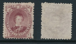 NEWFOUNDLAND, 1868 1c Brown-purple (type II) Fine Unused No Gum, SG35, Cat £130 - Newfoundland