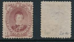 NEWFOUNDLAND, 1868 1c Brown-purple (type II) Fine Unused No Gum, SG35, Cat £130 - 1865-1902