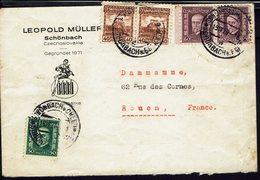 """TCHECOSLOVAQUIE - 1929  """"Leopold Muller Schonbach Bohmen"""" Affr. à 250 Haléro Sur Enveloppe Pour Rouen (FR) B/TB - - Cartas"""