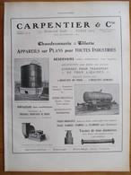 1926 - Réservoir  Chemin De Fer & Wagon Citerne CARPENTIER & Cie   - Page Originale ARCHITECTURE INDUSTRIELLE - - Machines