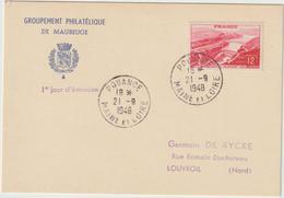 Carte-Maximum FRANCE N° Yvert 817 (Barrage De GENISSIAT) Obl Sp 1er Jour Pouancé - Maximum Cards