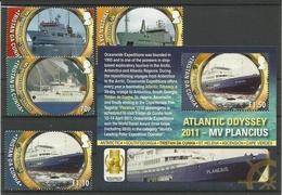TRISTAN DA CUNHA, 2011  ATLANTIC ODYSSEY,SHIPS SET & MS MNH - Ships
