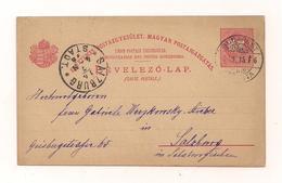 Postkarte - 15.7.1896 - Von  Budapest Nach Salzburg - Entiers Postaux