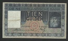 Netherlands-Nederland 10 Gulden 1933 Grijsaard (6 RJ 032717) Pick-49 AVF - [2] 1815-… : Royaume Des Pays-Bas