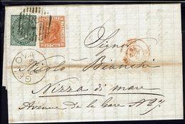 ITALIE - 1879 - Affranchissement à 25 Ct Sur Lettre De Genova Vers Nizza Di Mare - TB - - Marcofilía