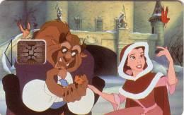 FRANCE CARTE JEU DISNEY 10U SC5  BEAUTY AND THE BEAST BELLE ET LA BETE UT RARE - Disney