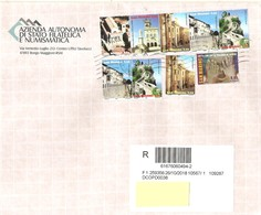 SAN MARINO - 2018 Lettera Raccomandata Con 9 Francobolli 2008 Vedute - San Marino