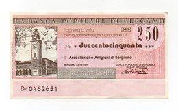 Italia - Miniassegno Da Lire 250 Emesso Dalla Banca Popolare Di Bergamo Nel 1976 - (FDC13014) - [10] Assegni E Miniassegni