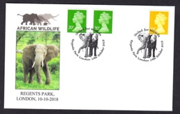2.- GREAT BRITAIN 2018 SPECIAL POSTMARK AFRICAN ELEPHANT WILDLIFE - Elefantes