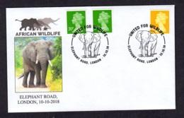 3.- GREAT BRITAIN 2018 SPECIAL POSTMARK AFRICAN ELEPHANT WILDLIFE - Elefantes