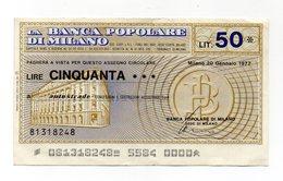 Italia - Miniassegno Da Lire 50 Emesso Dalla Banca Popolare Di Milano Nel 1977 - (FDC13015) - [10] Assegni E Miniassegni