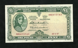 Ireland, Central Bank Of Ireland 1 Pound 1967 P-64a VF+ - Irlande