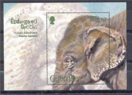 4.- GUERNSEY. ENDANGERED SPECIES. ASIAN ELEPHANT. MINIATURE SHEET - Elefantes