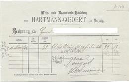 Mertzig - Rechnung Wein= Und Branntwein Handlung Hartmann-Goedert (11-11-1882) - Luxembourg