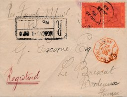 Lettre Hong Kong Ten Cent Registered To France Ligne N China - Hong Kong (...-1997)