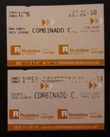 2018 RENFE ESPAÑA. 2 TICKETS. - Trenes