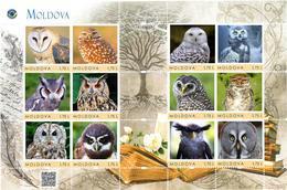 Moldova 2018, Nature, Birds, Owls, Sheet Of 12v - Moldavia