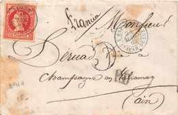 ESPAGNE 1862  -  Cachet  ESP 4 Saint Jean De Luz + TIMBRE 12 CUARTOS - Marcophilie - EMA (Empreintes Machines)