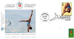 """"""" J.O. ATLANTA / USA 1996 : PLONGEON """"  Sur Enveloppe 1er Jour De 21 Cm X 11 Cm. Parfait état. FDC - High Diving"""