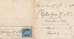 Facture 1864 / GALLERT Frères / Cotons Filés Et Indigo / 60 Flers De L' Orne / Cachet Losange GC 1520 - Marcophilie (Lettres)