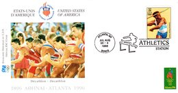 """"""" J.O. ATLANTA / USA 1996 : ATHLETISME / DECATHLON """"  Sur Enveloppe 1er Jour De 21 Cm X 11 Cm. Parfait état. FDC - Athlétisme"""