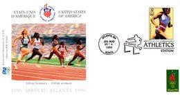 """"""" J.O. ATLANTA / USA 1996 : ATHLETISME / 100 M """"  Sur Enveloppe 1er Jour De 21 Cm X 11 Cm. Parfait état. FDC - Athlétisme"""