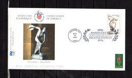 """"""" J.O. ATLANTA / USA 1996 : ATHLETISME /  LANCE DU DISQUE """"  Sur Enveloppe 1er Jour De 21 Cm X 11 Cm. Parfait état. FDC - Ete 1996: Atlanta"""