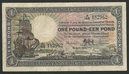 SOUTH AFRICA 1 POUND 1947 PICK # 84f CIRCULATED BEAUTIFUL BILL XF - Suráfrica