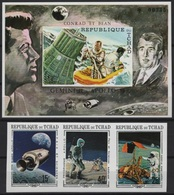 Tchad (1970) Mi. 291/93B + Bl. 6B  /  Espace - Space - Planet - Astronaut - Spaceship - Satellite - Moon - Raumfahrt