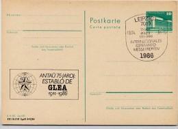 DDR P84-5-86 C138 Postkarte Zudruck ESPERANTO-TREFFEN  LEIPZIG Sost. 1986 - Esperanto