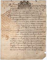 VP13.454 - LYON - Acte De 1700 - Mgr P. De MASSO De LA FERRIERE , De LISSIEU & Du PLANTIN Capitaine Au Rgt De VILLEROY - Cachets Généralité