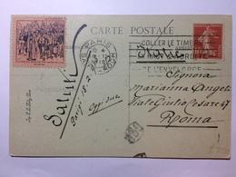 FRANCE - 1918 Postcard - Paris To Roma With Propaganda Cinderella - `Les Allemands Font Marcher Les Civils Devant Eus` - France