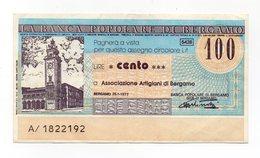 Italia - Miniassegno Da Lire 100 Emesso Dalla Banca Popolare Di Bergamo Nel 1977 - (FDC13018) - [10] Assegni E Miniassegni