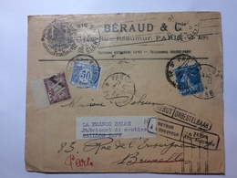 FRANCE - 1924 Cover - Paris To Bruxelles Re-directed To Gaillon - Postage Due Stamps - Rebut And Retour Cachets - France