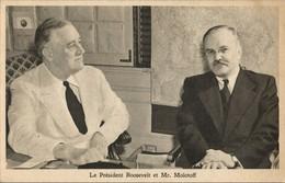 US President Roosevelt, Russian Chairman Molotov (1945) WWII Tuck Postcard - War 1939-45